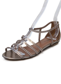 Alaia Rose Gold Leather Sandals