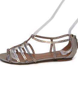 Alaia Rose Gold Leather Sandals 1