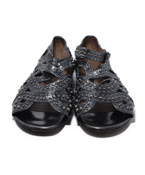 Alaia Metallic Silver Leather Studs Shoes 4