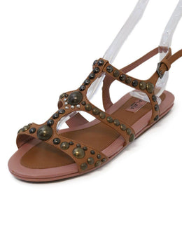 Alaia Tan Leather Pink Studded Sandals