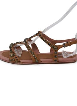 Alaia Tan Leather Pink Studded Sandals 1