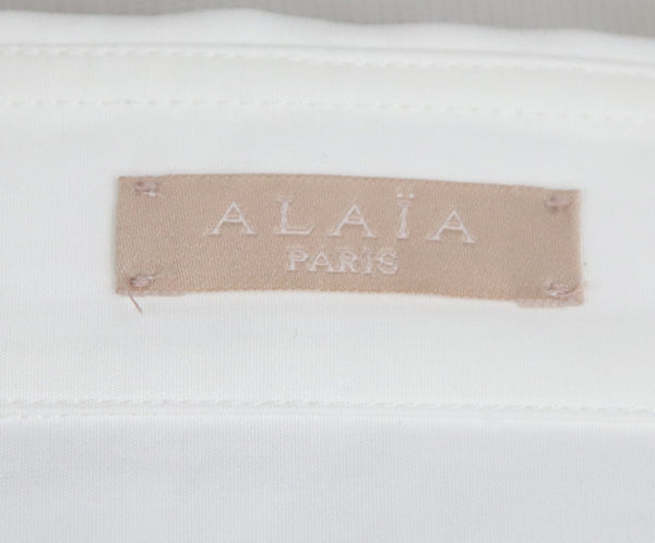 Alaia White Cotton Longsleeve Top 4