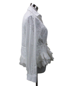 Alaia White Cotton Polyester Perforated Top Sz 4
