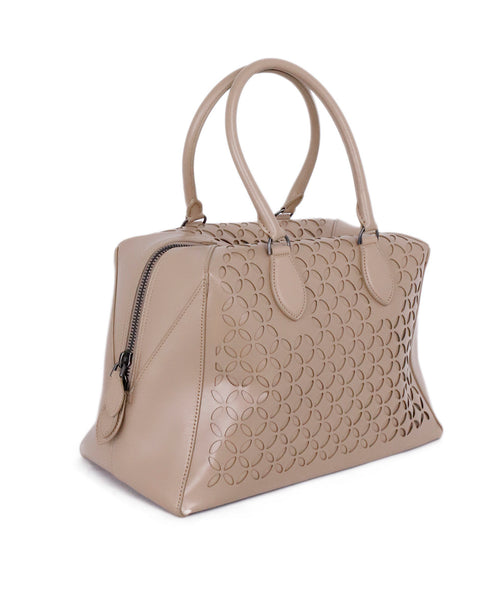 Alaia Neutral Beige Cutwork Leather Satchel  Handbag 2