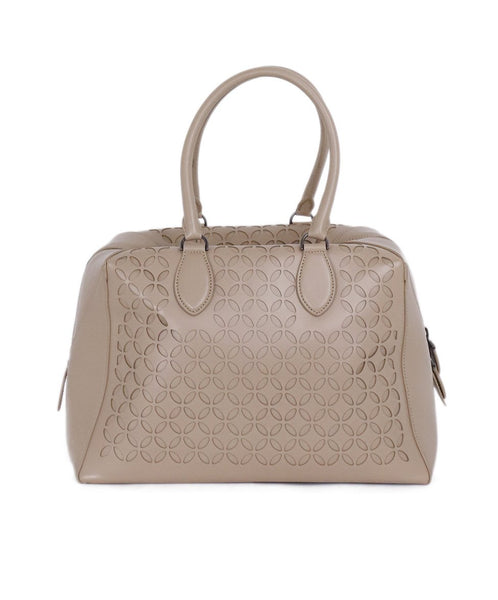 Alaia Neutral Beige Cutwork Leather Satchel  Handbag 3
