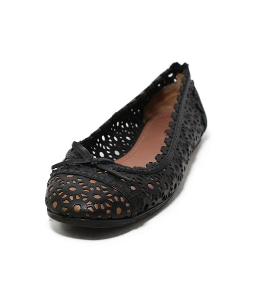 Alaia Black Leather Cutwork Flats 1