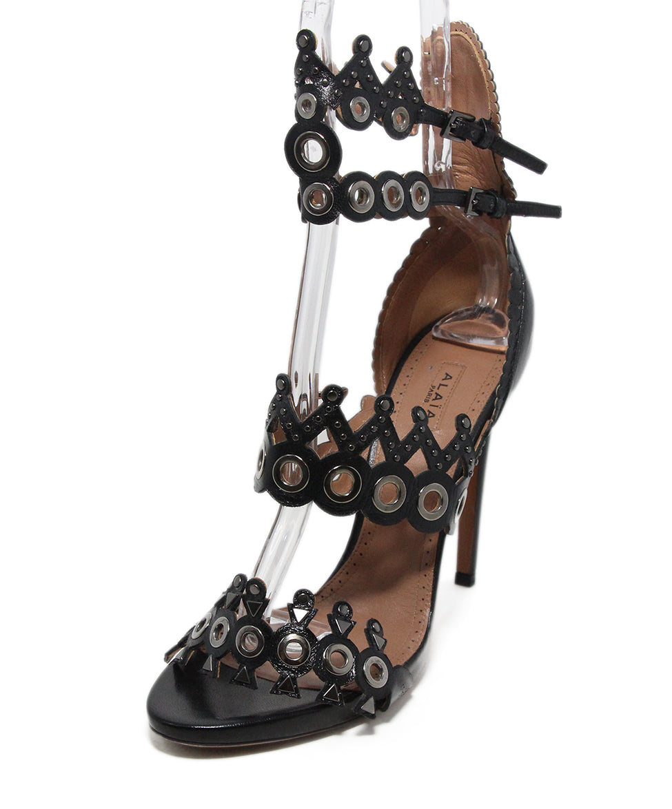 Alaia black leather grommet heels 1
