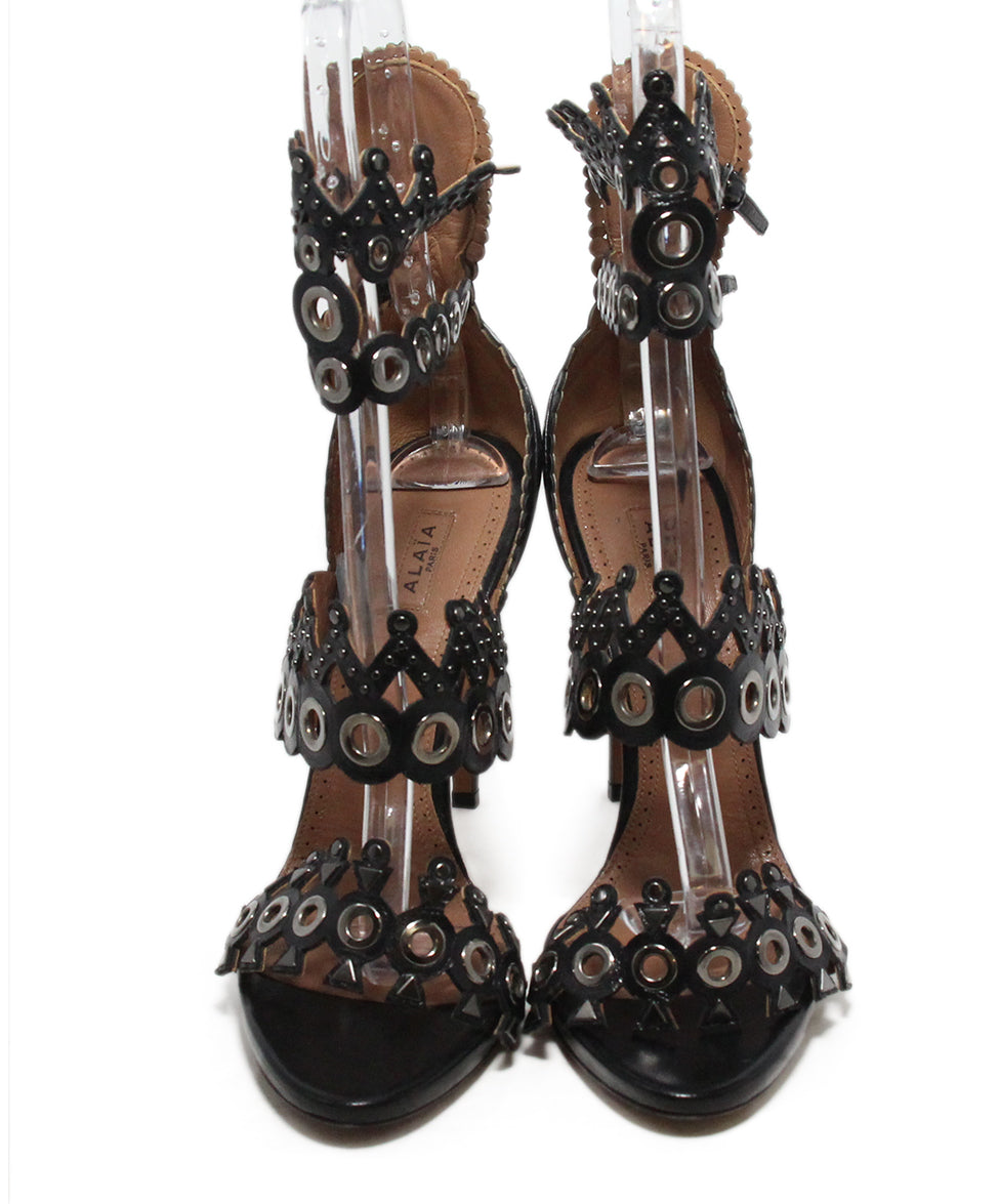 Alaia black leather grommet heels 4
