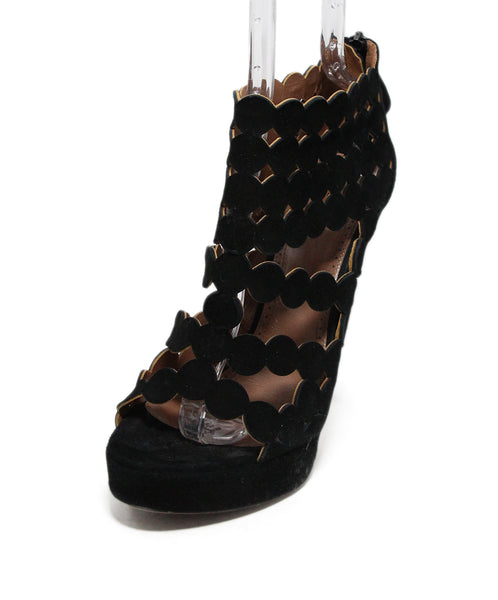 Alaia Black Perforated Suede Heels 1