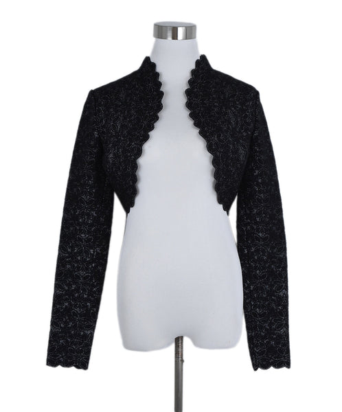 Alaia Black Silver Viscose Polyamide Evening Shrug Sweater 1