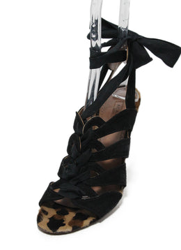 Alaia Black Suede Animal Print Pony Heels 1