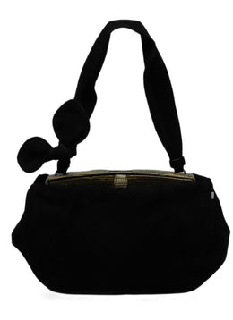 Alaia Black Suede Green Lizard Trim Handbag
