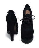 Alaia Black Suede Lace Up Platform Heels 3