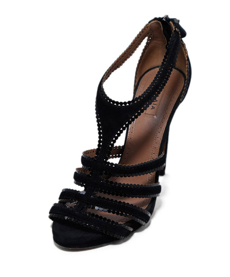Alaia Black Suede Lace Up Platform Heels, Sz. 7