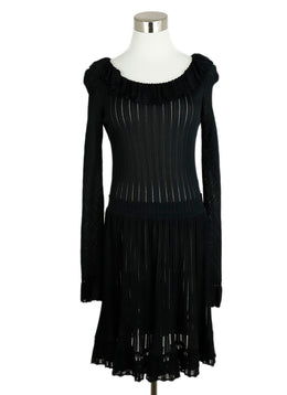 Alaia Black Viscose Spandex Longsleeve Dress 1