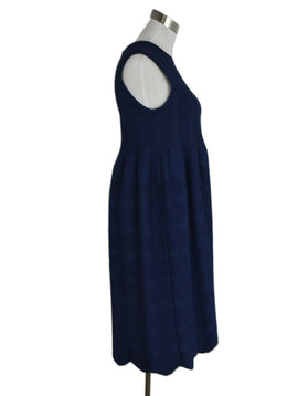 Alaia Navy Embossed Pleated Dress sz. 4 | Alaia