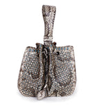 Alaia Brown Beige Snake Skin Bucket Handbag 1