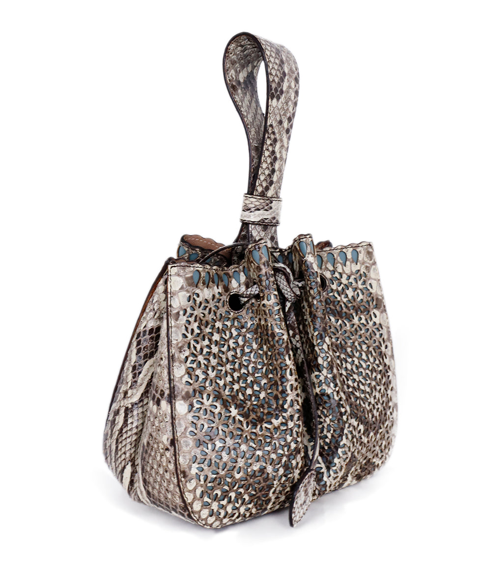 Alaia Brown Beige Snake Skin Bucket Handbag 2