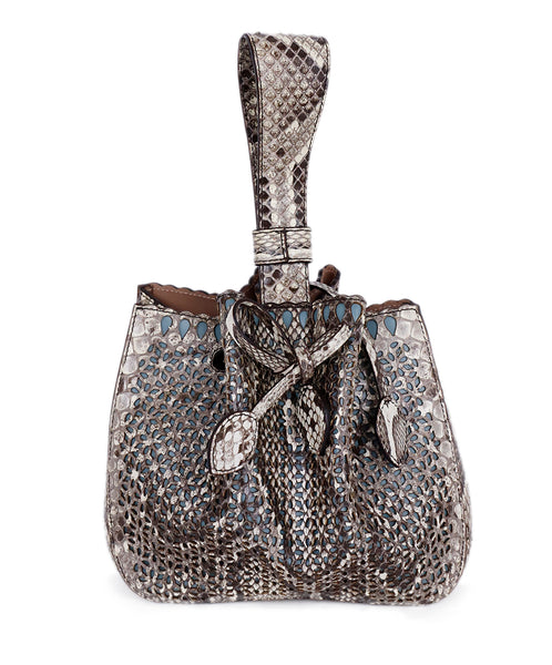 Alaia Brown Beige Snake Skin Bucket Handbag 3