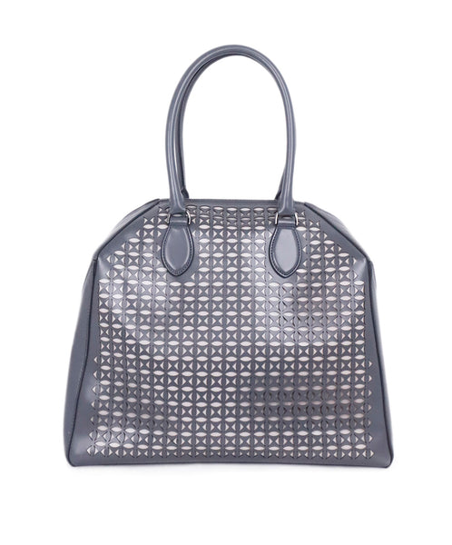 Alaia Grey Cutwork Leather Satchel Handbag 1