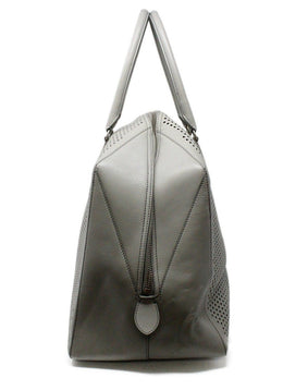 Alaia Grey Perforated Leather Satchel 1