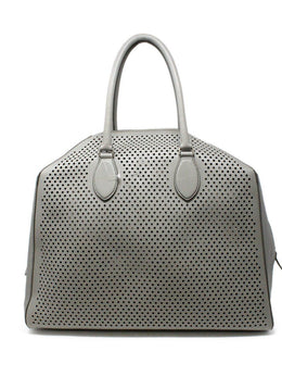 Alaia Grey Perforated Leather Satchel