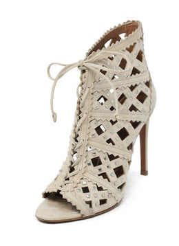 Alaia Neutral Nude Suede Shoes