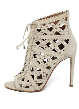 Alaia Neutral Nude Suede Shoes 1