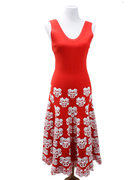 Alaia Red White Floral Viscose Polyester Dress
