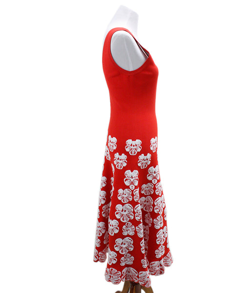 Alaia Red White Floral Viscose Polyester Dress 1