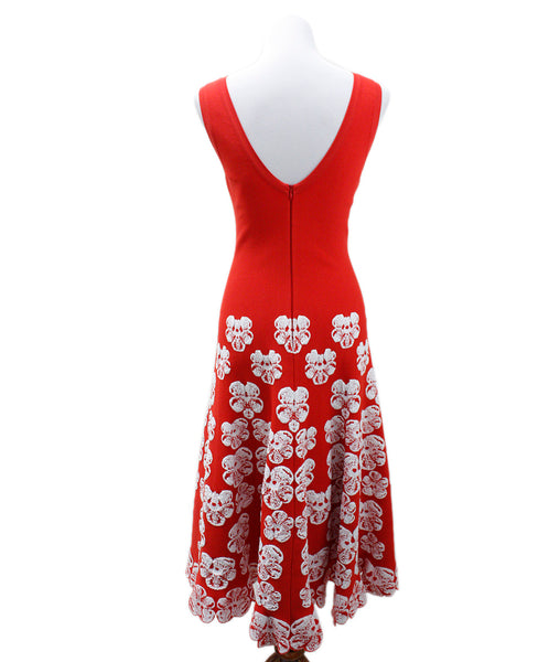 Alaia Red White Floral Viscose Polyester Dress 2