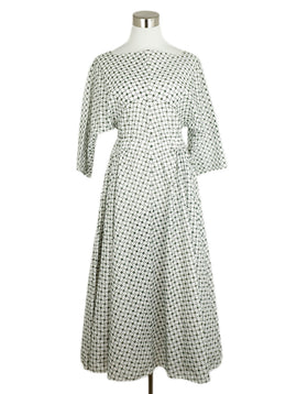Alaia White Cotton Olive Eyelet Dress 1