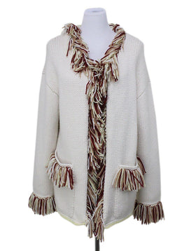 Cardigan Alanui Size 6 Neutral Ivory Cashmere Red Yellow Fringe Sweater