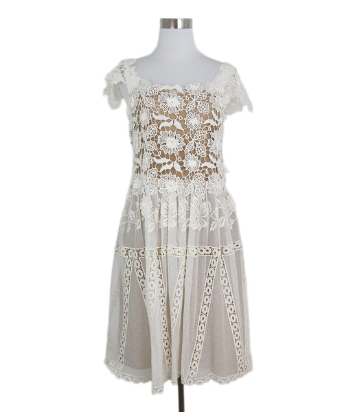 Alberta Ferretti White Crochet Cotton Dress 1