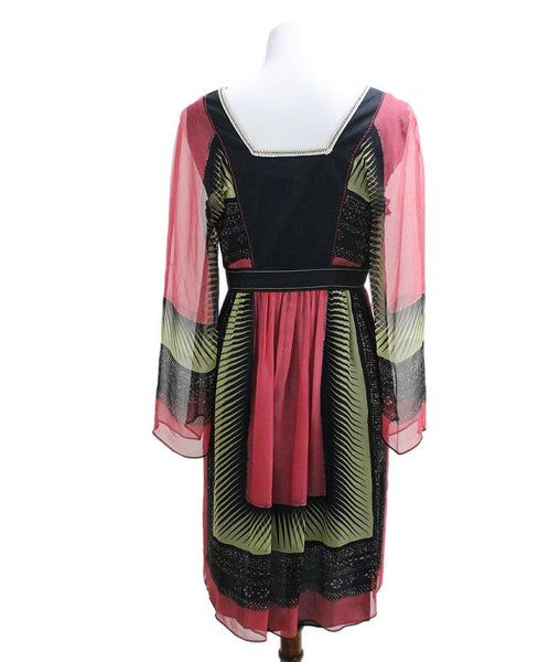 Alberta Ferretti Black Red Yellow Print Silk Dress sz 6