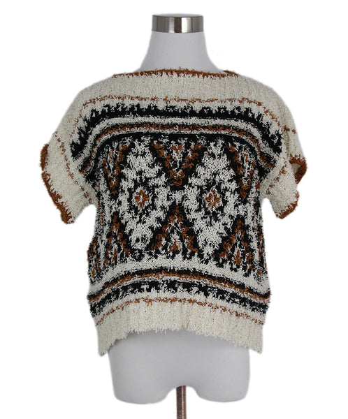 Alberta Ferretti White Black Brown Cotton Top 1