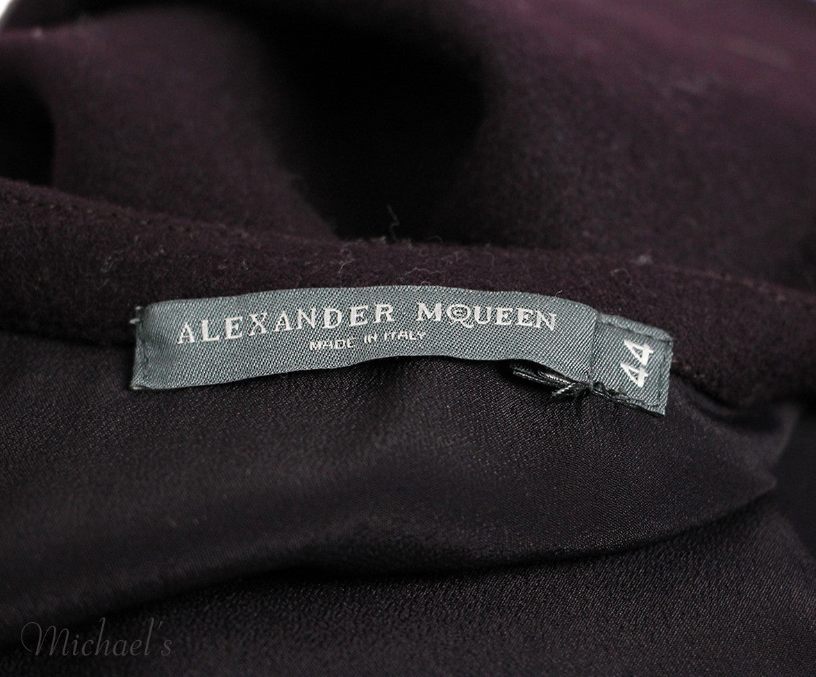 Alexander Mc Queen  Auburgine Wine Wool Cape Sz 44