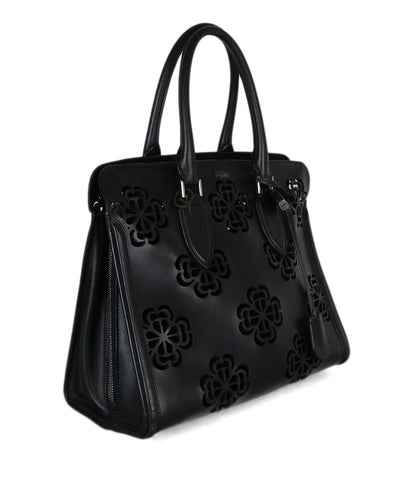 Alexander McQueen Black Cut Leather Tote 1