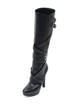 Alexander McQueen Black Leather Belt Trim Boots