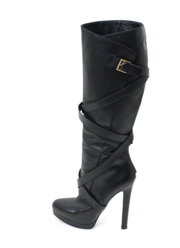 Alexander McQueen Black Leather Belt Trim Boots 1