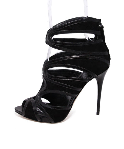 Alexander McQueen Black Suede Leather Heels 1