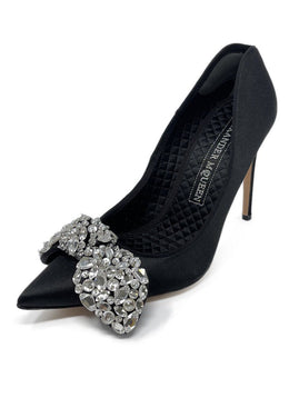 Alexander McQueen Black Satin Rhinestone Shoes