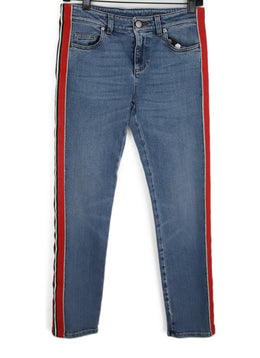 Alexander McQueen Blue Denim Pants with Red Black White Striped Trim 1