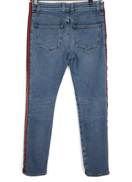 Alexander McQueen Blue Denim Pants with Red Black White Striped Trim 2
