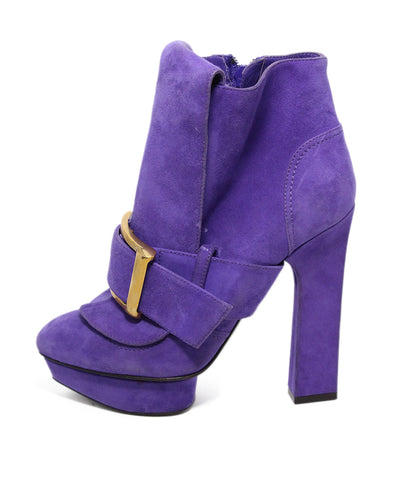 Alexander McQueen Purple Suede Gold Buckle Booties 1