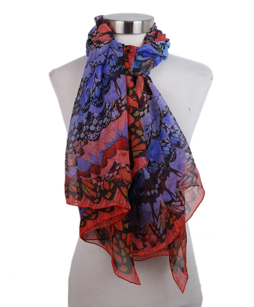 Alexander McQueen Red Blue butterfly print scarf 2