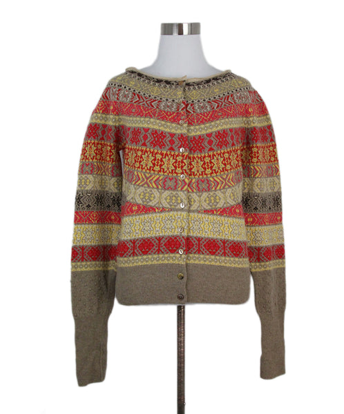 Alexander McQueen Red yellow taupe cardigan 1
