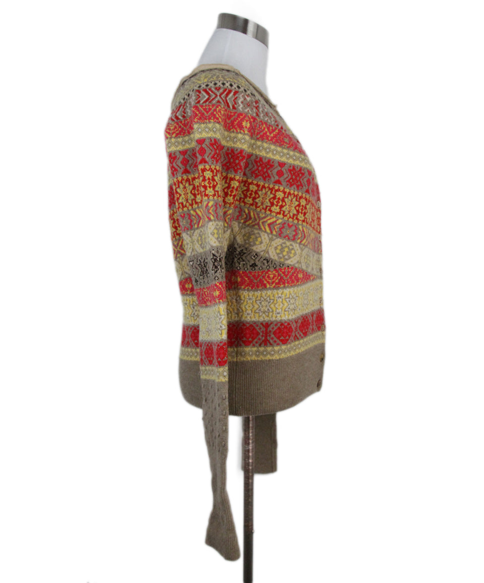 39cfcb827a5d Cardigan Alexander McQueen Size 4 Red Yellow Taupe Wool Sweater ...