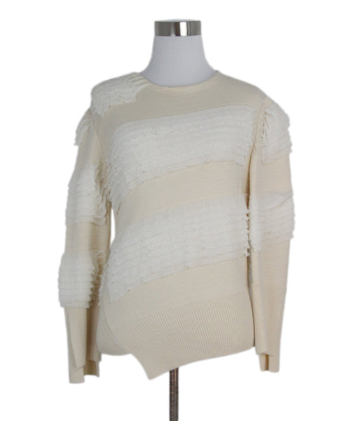 Alexander McQueen beige wool tiered sweater 1