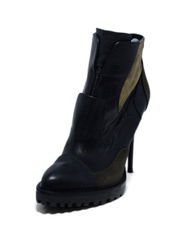 Alexander McQueen Black Olive Leather Suede Booties 1